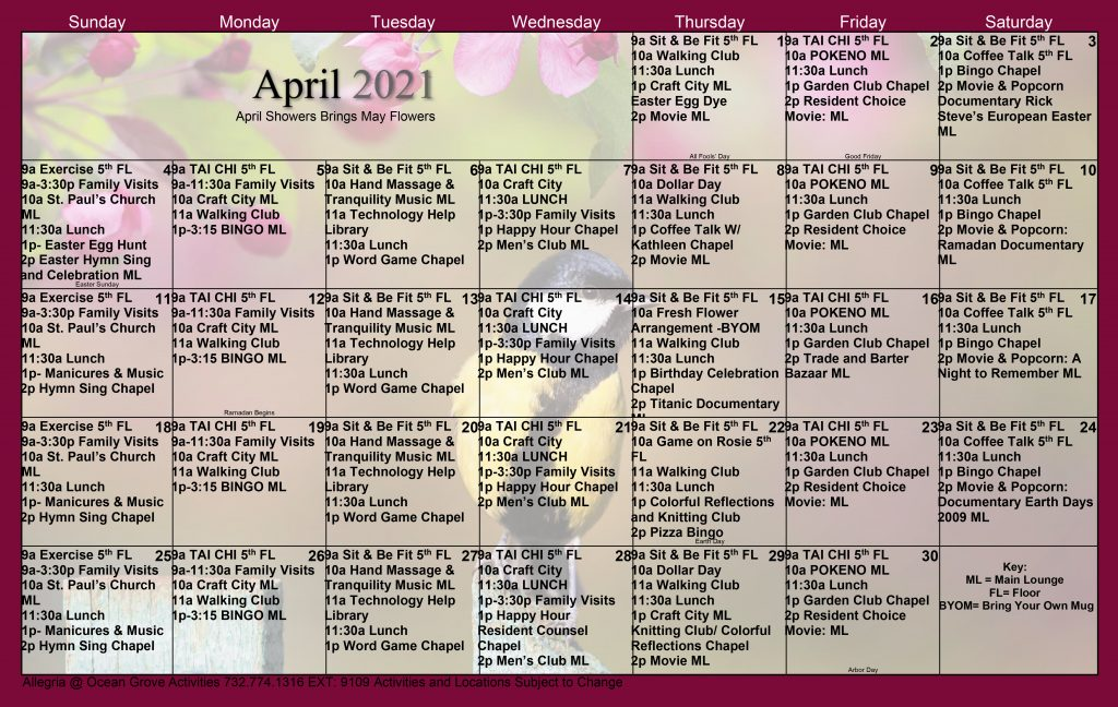 Assisted Living Calendar April 2021